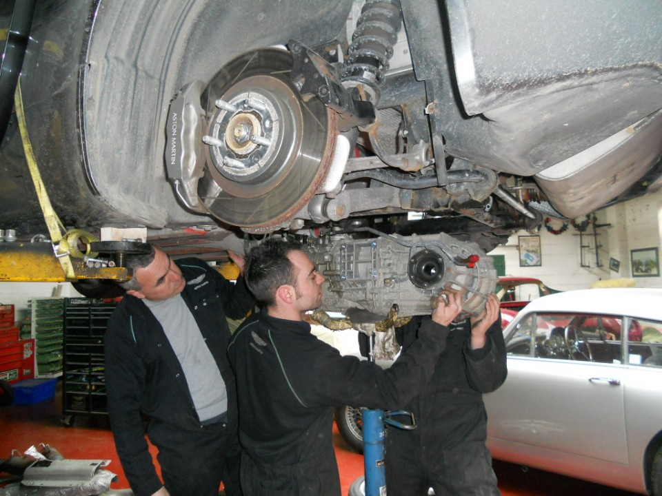 Transaxle being removed from V8 Vantage