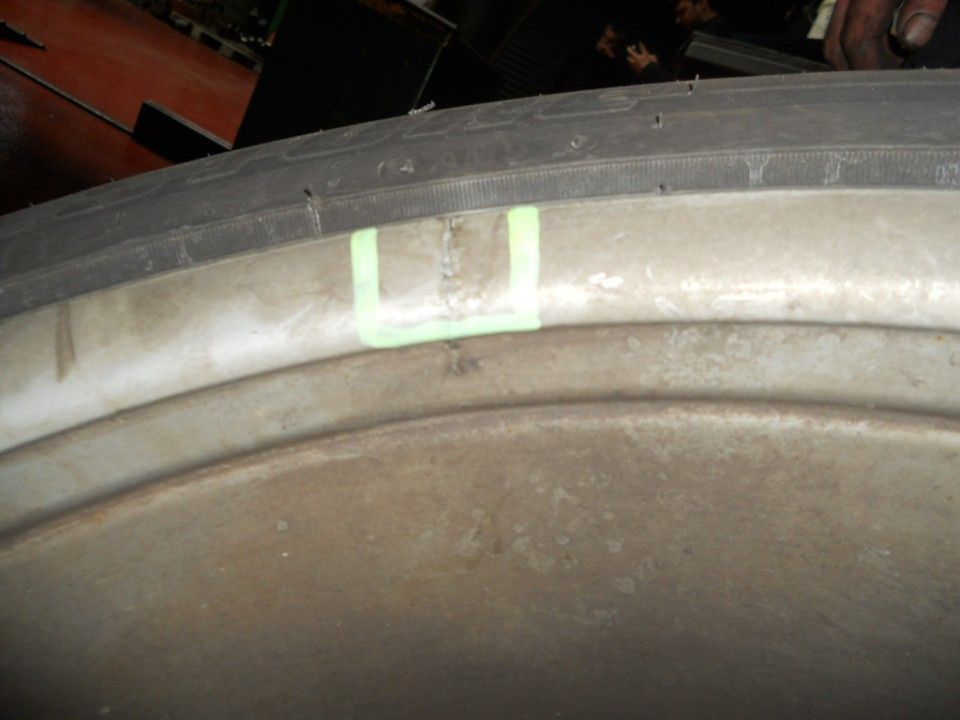 Crack found on the inside of road wheel DB9